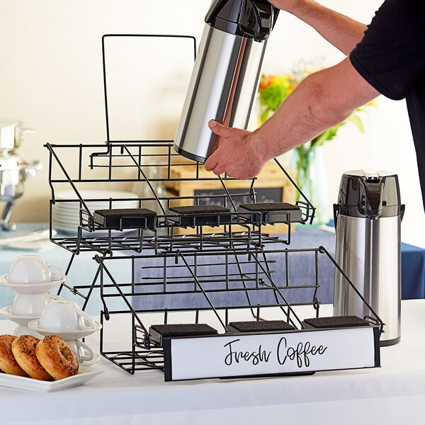 """Choice 20 1/4"""" x 23 5/16"""" x 17 3/8"""" Black Wire 6 Compartment Airpot Rack with Drip Trays Main Image 4"""