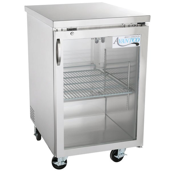 "Avantco UBB-1G-HC-S 23"" Stainless Steel Glass Door Back Bar Refrigerator Main Image 1"
