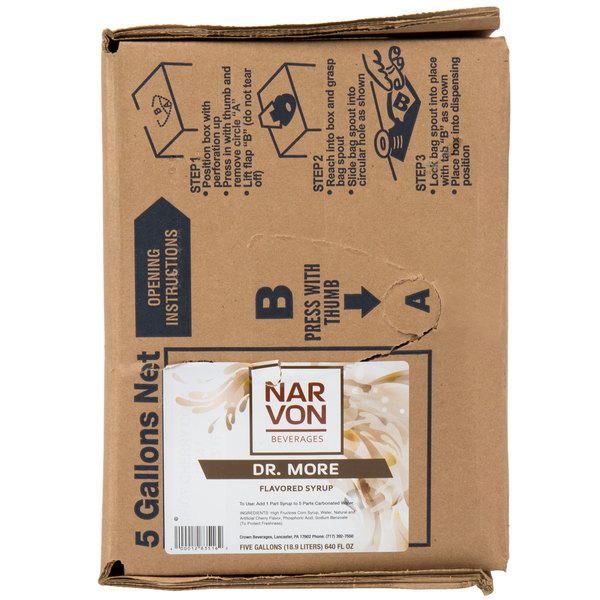 Narvon 5 Gallon Bag in Box Dr. More Beverage / Soda Syrup