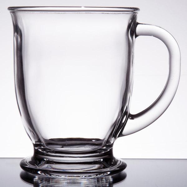 Acopa 16 oz. Customizable Clear Glass Cafe Mug - 12/Case Main Image 1