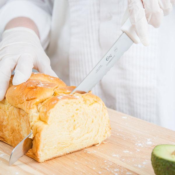 "Choice 10"" White Curved Serrated Edge Bread Knife Main Image 4"