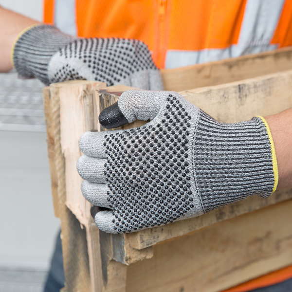 Monarch Dots Gray Engineered Fiber Cut Resistant Gloves with Two-Sided Nitrile Dotted Coating - Medium - Pair