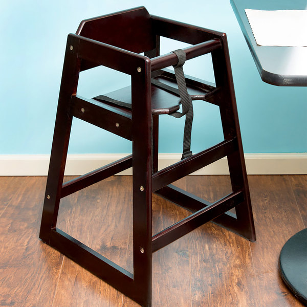 """29"""" Stacking Restaurant High Chair with Walnut Finish - Assembled"""