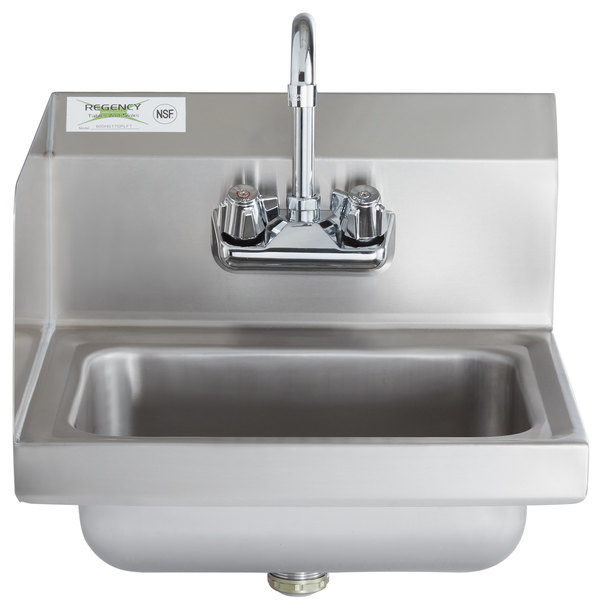 Regency 17 X 15 Wall Mounted Hand Sink With Gooseneck Faucet And Left Side Splash