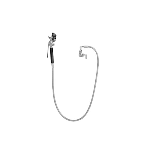 "Fisher 26409 Wall Mounted Stainless Steel Utility Spray Faucet with 60"" Hose and Swivel Elbow Main Image 1"