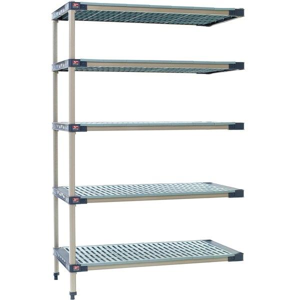 "Metro 5AX357G4 MetroMax 4 Grid 5-Shelf Stationary Shelving Add On Unit 18"" x 48"" x 74"" Main Image 1"