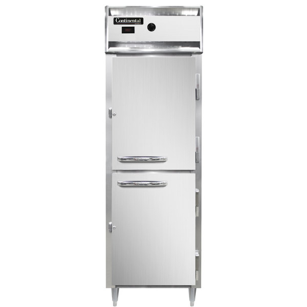 """Continental DL1W-SS-HD 26"""" Half Solid Door Reach-In Heated Holding Cabinet - 1500W Main Image 1"""