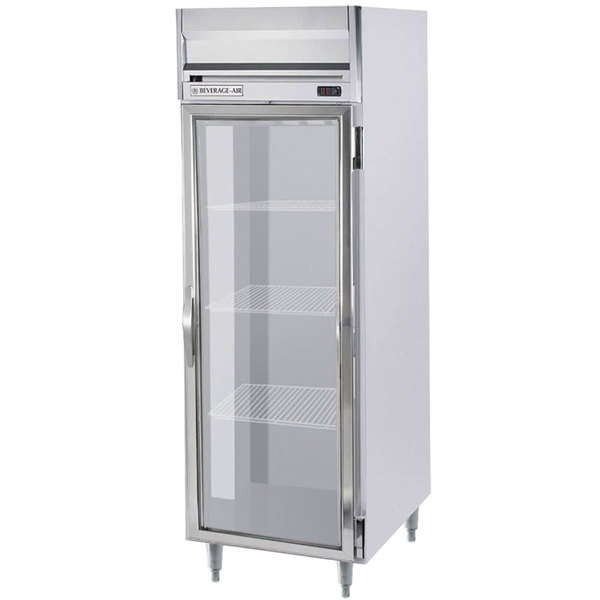 "Beverage-Air HRPS1W-1G Horizon Series 35"" Glass Door All Stainless Steel Wide Reach-In Refrigerator with LED Lighting Main Image 1"