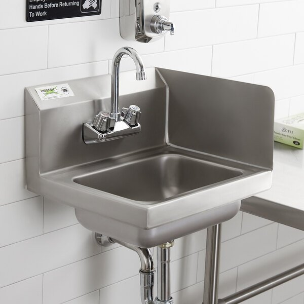 """Regency 17"""" x 15"""" Wall Mounted Hand Sink with Gooseneck Faucet and Right Side Splash Main Image 4"""