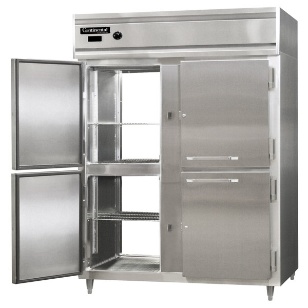 "Continental DL2WE-SA-PT-HD 57"" Extra-Wide Half Solid Door Pass-Through Heated Holding Cabinet - 2250W"