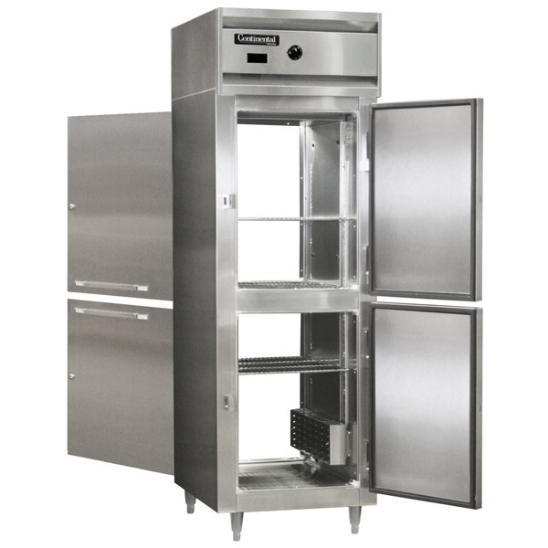 "Continental DL1W-PT-HD 26"" Half Solid Door Pass-Through Heated Holding Cabinet - 1500W Main Image 1"