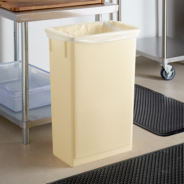 Lavex Janitorial 23 Gallon Beige Slim Rectangular Trash Can Main Image 2