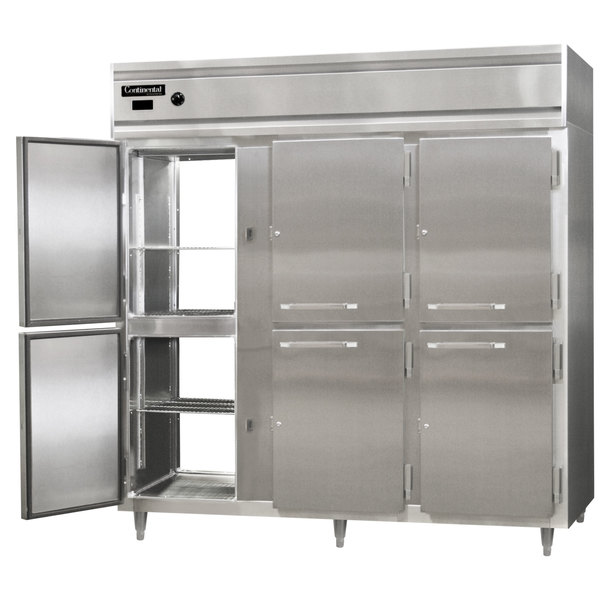 "Continental DL3W-PT-HD 78"" Half Solid Door Pass-Through Heated Holding Cabinet - 3000W Main Image 1"