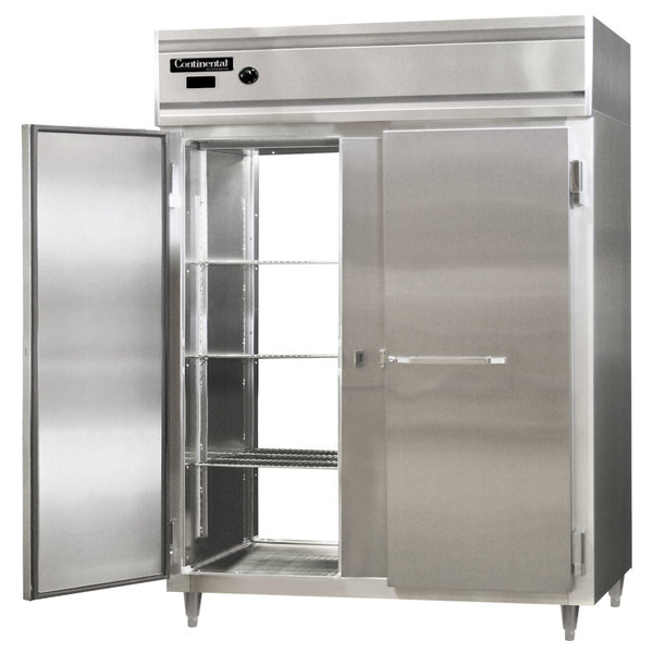 "Continental DL2WE-SS-PT 57"" Extra-Wide Solid Door Pass-Through Heated Holding Cabinet - 2250W Main Image 1"