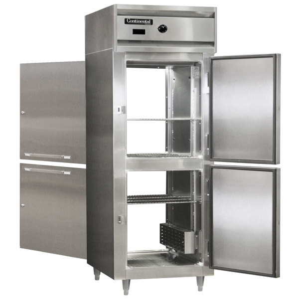 "Continental DL1WE-SA-PT-HD 29"" Extra-Wide Half Solid Door Pass-Through Heated Holding Cabinet - 1500W Main Image 1"