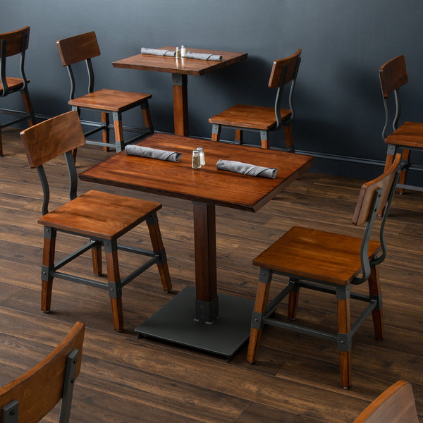 Lancaster Table Seating 24 X 30 Antique Walnut Solid Wood Live Edge Dining Height