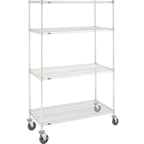 """Metro Super Erecta N356BC Chrome Mobile Wire Shelving Unit with Rubber Casters 18"""" x 48"""" x 69"""" Main Image 1"""