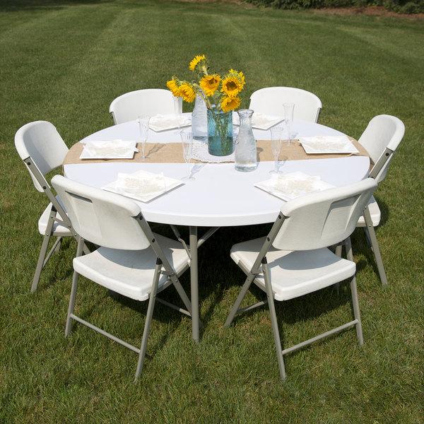 "Round Folding Table, 60"" Heavy Duty Plastic, White Granite"
