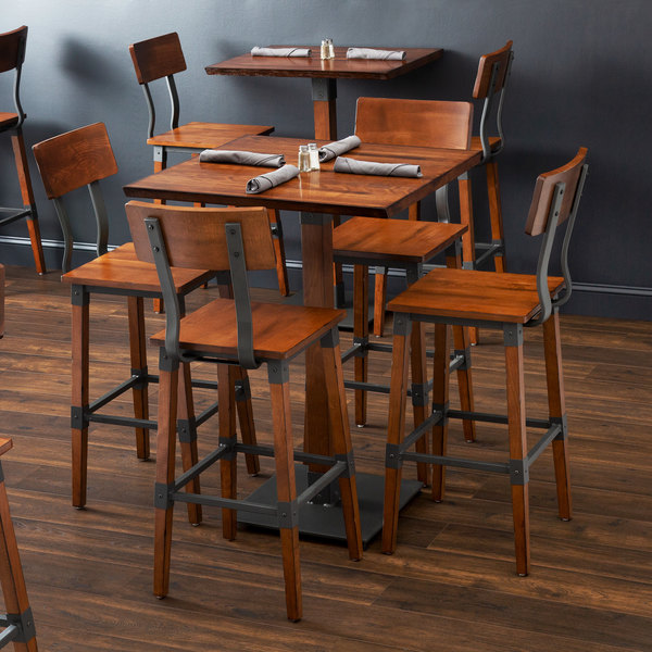 Lancaster Table Seating 30 Square Antique Walnut Solid Wood Live Edge Bar Height