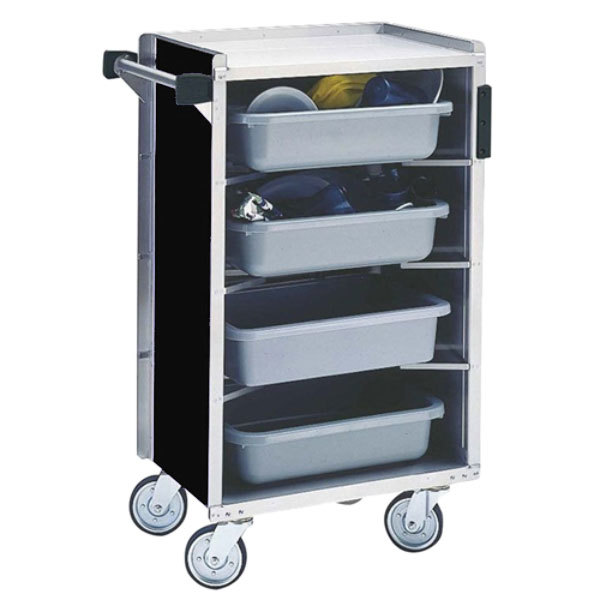 """Lakeside 890B Medium-Duty Stainless Steel Enclosed Bussing Cart with Ledge Rods and Black Finish - 17 5/8"""" x 27 3/4"""" x 42 7/8"""""""