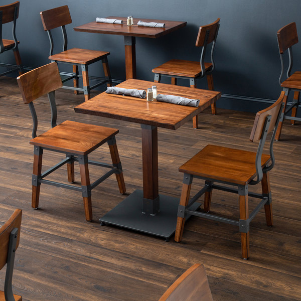 Lancaster Table Seating 24 Square Antique Walnut Solid Wood Live Edge Dining Height With 2 Chairs