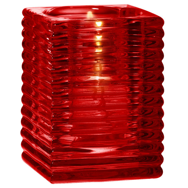 """Sterno Products 80148 4"""" Red Ribbed Kelly Square Liquid Candle Holder"""