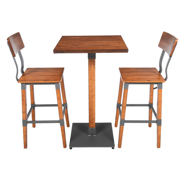 Fantastic Lancaster Table Seating 24 Square Antique Walnut Solid Wood Live Edge Bar Height Table With 2 Bar Chairs Pabps2019 Chair Design Images Pabps2019Com