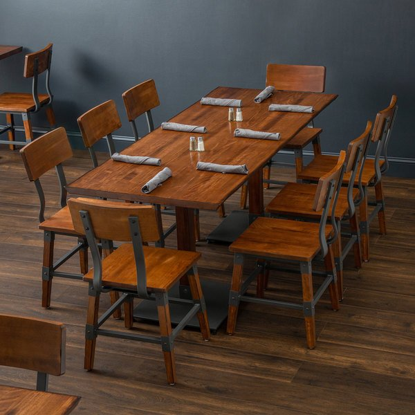 Lancaster Table Seating 30 X 72 Antique Walnut Solid Wood Live Edge Dining Height