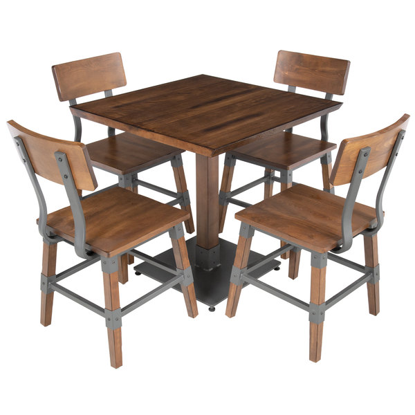 Miraculous Lancaster Table Seating 30 Square Antique Walnut Solid Wood Live Edge Dining Height Table With 4 Chairs Creativecarmelina Interior Chair Design Creativecarmelinacom
