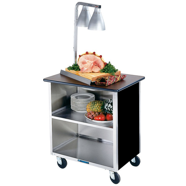 """Lakeside 626B-05 Heavy-Duty Stainless Steel Three Shelf Flat Top Utility Cart with Enclosed Base and Black Finish - 18 3/4"""" x 28 1/4"""" x 32 5/8"""" Main Image 1"""
