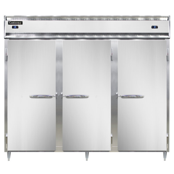 "Continental DL3RRFE-SA 86"" Solid Door Extra-Wide Dual Temperature Reach-In Refrigerator/Refrigerator/Freezer"