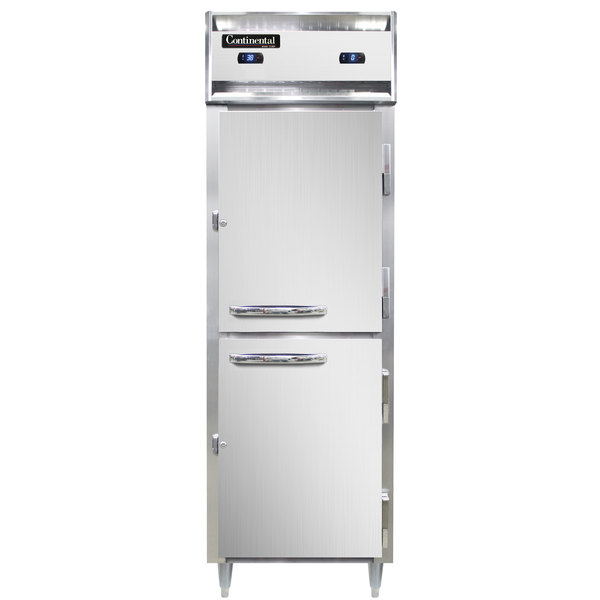 "Continental DL1RFXS-SA-HD 36"" Solid Half Door Extra-Wide, Shallow Depth Dual Temperature Reach-In Refrigerator/Freezer Main Image 1"