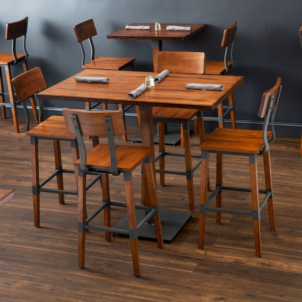 """Lancaster Table & Seating 30"""" x 48"""" Antique Walnut Solid Wood Live Edge Bar Height Table with 4 Bar Chairs Main Image 6"""