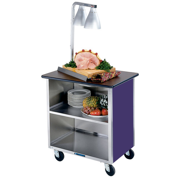 """Lakeside 626P Heavy-Duty Stainless Steel Three Shelf Flat Top Utility Cart with Enclosed Base and Purple Finish - 18 3/4"""" x 28 1/4"""" x 32 5/8"""" Main Image 1"""