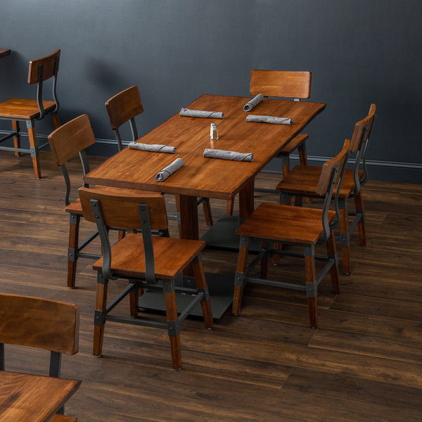 "Lancaster Table & Seating 30"" x 60"" Antique Walnut Solid Wood Live Edge Dining Height Table with 6 Chairs"