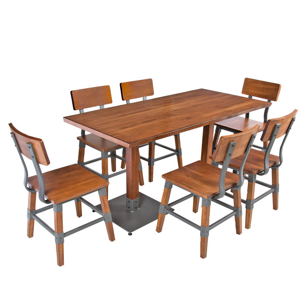 Lancaster Table Seating X Antique Walnut Solid Wood Live - 30 x 60 dining room table
