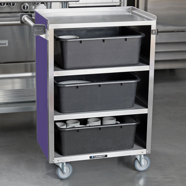 """Lakeside 815P Medium-Duty Stainless Steel Four Shelf Utility Cart With Enclosed Base and Purple Finish - 16 7/8"""" x 28 1/4"""" x 37 1/2"""" Main Image 4"""