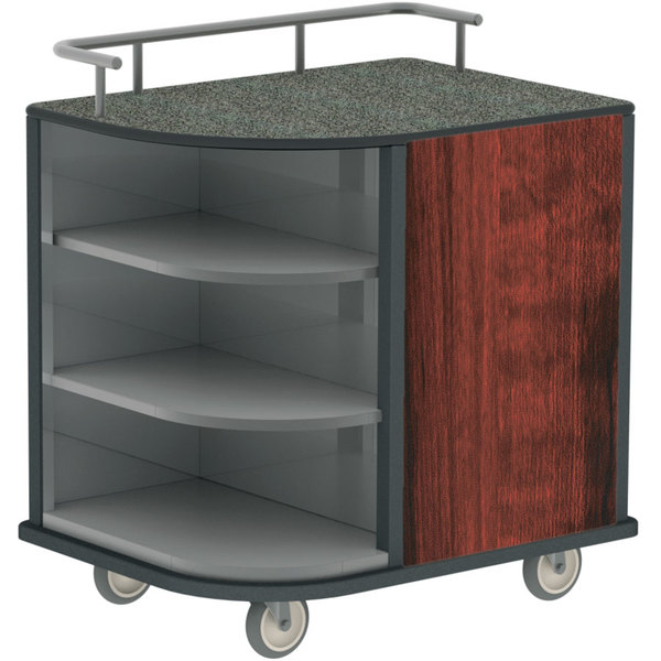Lakeside 8713 04 Stainless Steel Self Serve Compact Hydration Cart With 3 Corner Shelves And Red