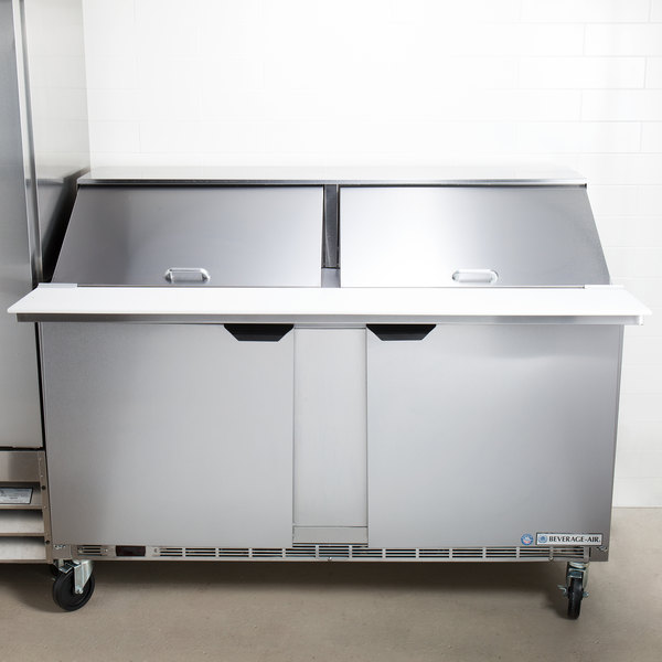 "Beverage-Air SPE60HC-24M 60"" 2 Door Mega Top Refrigerated Sandwich Prep Table Main Image 7"