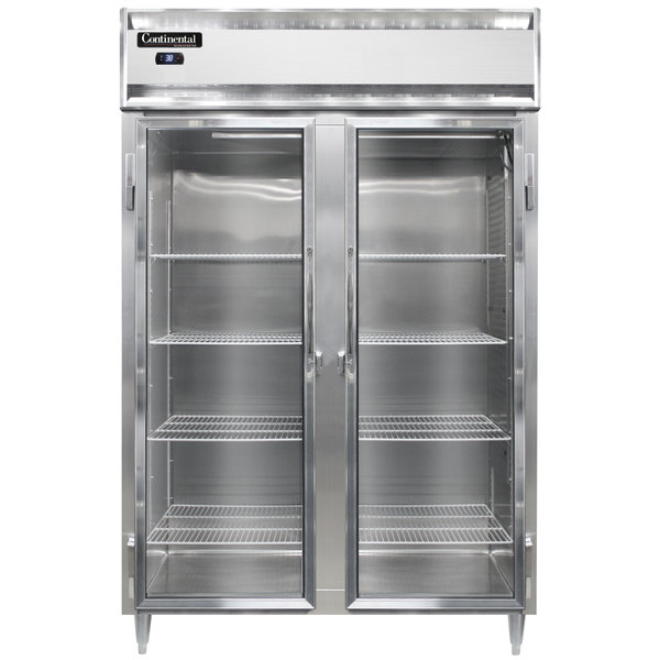 """Continental D2RSNGD 52"""" Glass Door Shallow Depth Reach-In Refrigerator Main Image 1"""