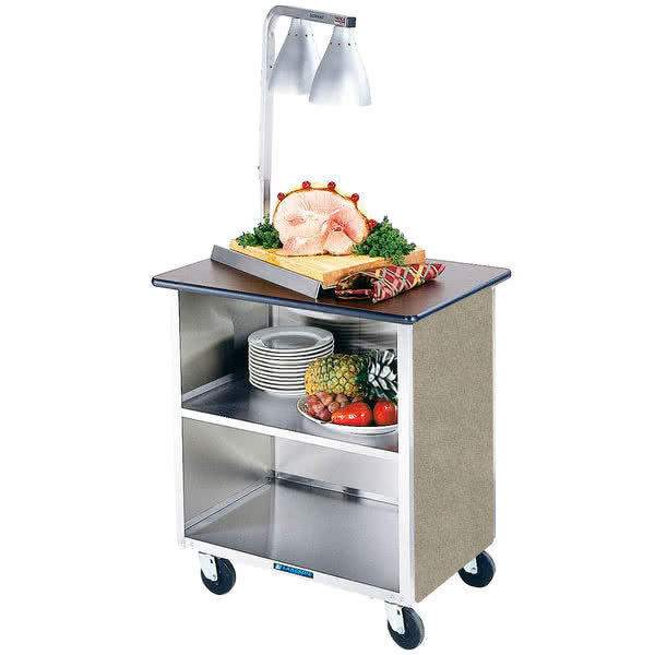 """Lakeside 646BS Heavy-Duty Stainless Steel Three Shelf Flat Top Utility Cart with Enclosed Base and Beige Suede Finish - 22"""" x 36"""" x 36 5/8"""" Main Image 1"""
