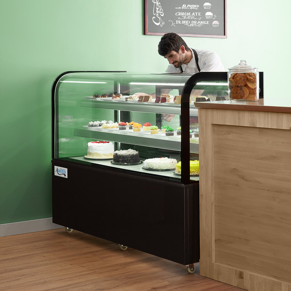"""Avantco BC-60-HC 60"""" Curved Glass Black Refrigerated Bakery Display Case Main Image 6"""