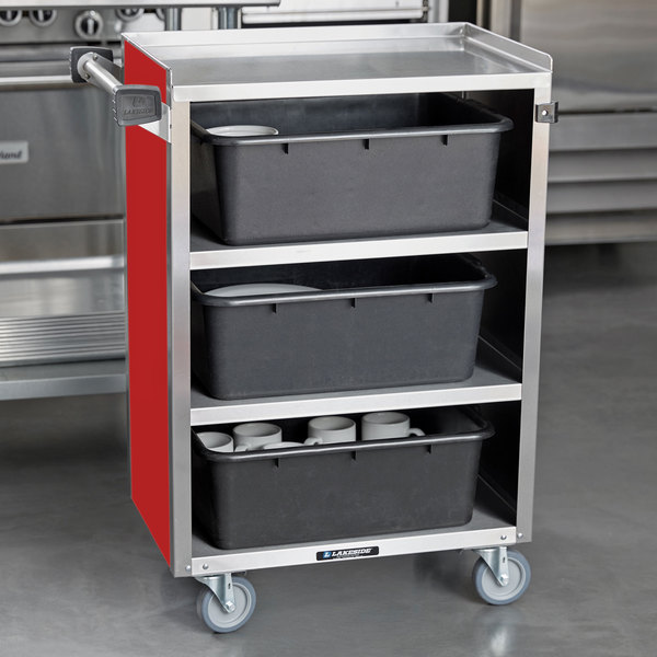 "Lakeside 815RD Medium-Duty Stainless Steel Four Shelf Utility Cart With Enclosed Base and Red Finish - 16 7/8"" x 28 1/4"" x 37 1/2"" Main Image 4"