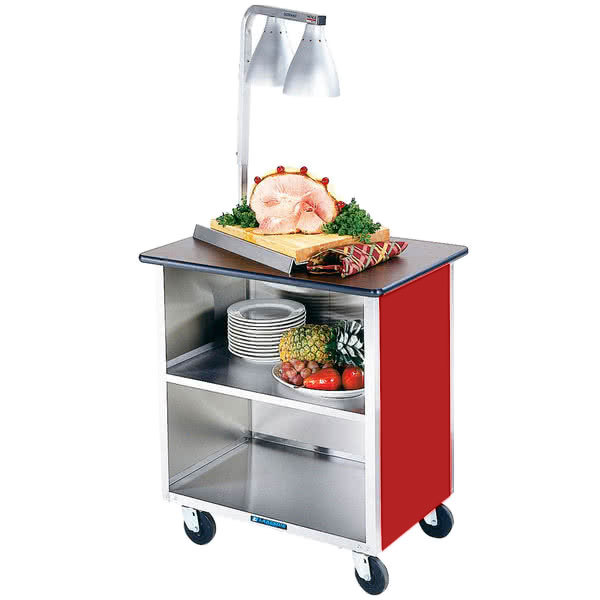 """Lakeside 646RD Heavy-Duty Stainless Steel Three Shelf Flat Top Utility Cart with Enclosed Base and Red Finish - 22"""" x 36"""" x 36 5/8"""" Main Image 1"""