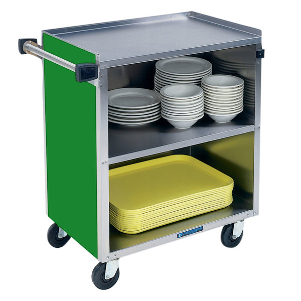 """Lakeside 622G Medium-Duty Stainless Steel Three Shelf Utility Cart with Enclosed Base and Green Finish - 19"""" x 30 3/4"""" x 33 7/8"""" Main Image 1"""