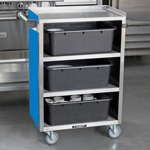 """Lakeside 815BL Medium-Duty Stainless Steel Four Shelf Utility Cart With Enclosed Base and Royal Blue Finish - 16 7/8"""" x 28 1/4"""" x 37 1/2"""" Main Image 4"""