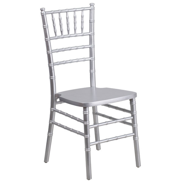 Flash Furniture XS-SILVER-GG Hercules Silver Chiavari Hardwood Stacking Chair Main Image 1