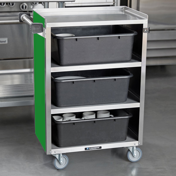 """Lakeside 815G Medium-Duty Stainless Steel Four Shelf Utility Cart With Enclosed Base and Green Finish - 16 7/8"""" x 28 1/4"""" x 37 1/2"""" Main Image 4"""