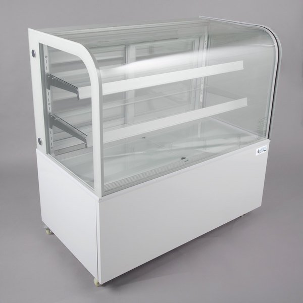 "Avantco BC-48-HC 48"" Curved Glass White Refrigerated Bakery Display Case Main Image 1"
