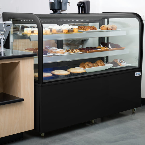 """Avantco BCD-60 60"""" Curved Glass Black Dry Bakery Display Case Main Image 3"""